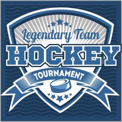 Fototapet Hockeylag logo mall. Emblem, logotyp mall, t-shirt kläder design. Sport emblem för turnering eller mästerskap