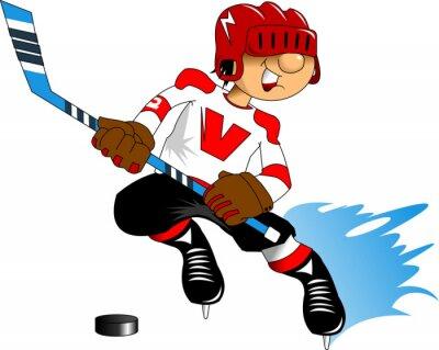 Fototapet hockeyspelare i vitt