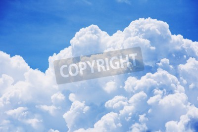 Fototapet Hög detalj moln på blå himmel bakgrund