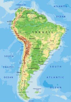 Fototapet Hög detalj Sydamerika fysisk karta med märkning.