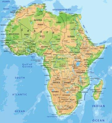 Fototapet Hög detaljerad Afrika fysisk karta med märkning.