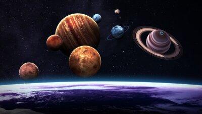 Fototapet Hög kvalitet isolerade solsystemet planeter. Delar av denna bild som tillhandahålls av NASA
