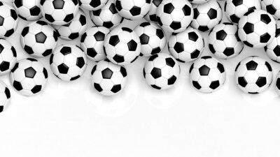 Fototapet Högen av klassiska fotbollar isolerad på vitt med kopia-utrymme