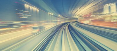 Fototapet Höghastighetsteknikkoncept via Tokyo monorail
