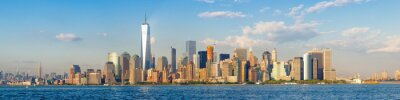 Fototapet Högupplöst panoramautsikt över centrala New York City horisonten sett från havet