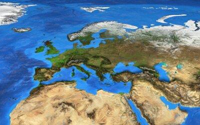 Fototapet Högupplöst världskarta med fokus på Europa