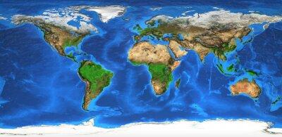 Fototapet Högupplöst världskartan och landformer