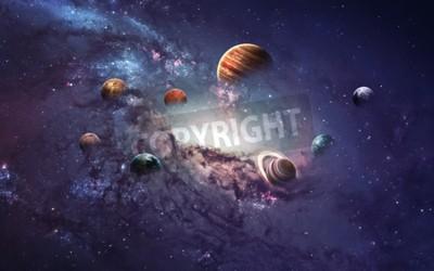 Fototapet Högupplösta bilder presenterar skapa planeter i solsystemet.