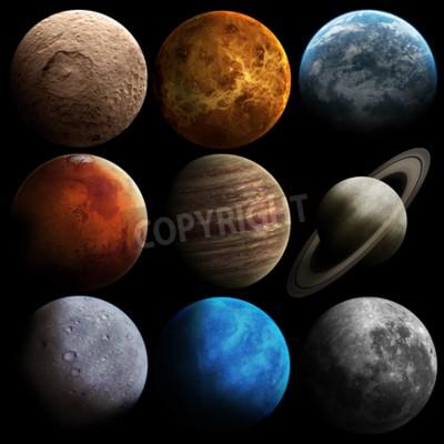 Fototapet Höjd kvalitet solsystemet planeter.