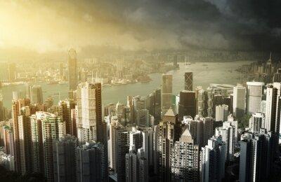 Fototapet Hong Kong Island från Victoria Peak