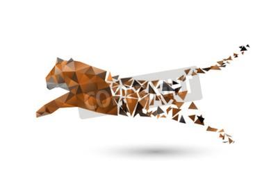 Fototapet hoppar tiger från polygoner
