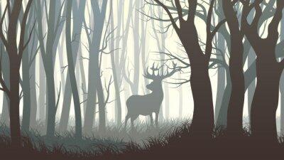 Fototapet Horisontell illustration av vilda älg i trä.