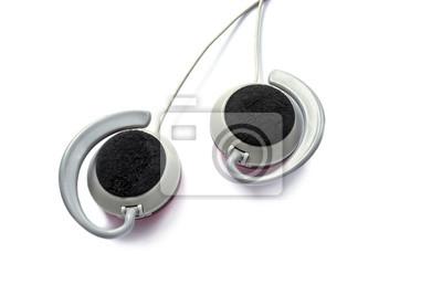 Hörlurar över vita Fototapet • Fototapeter garnering 7566e19d05d21