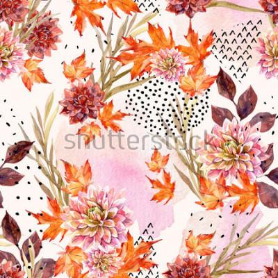 Fototapet Höst vattenfärg blommigt sömlöst mönster. Bakgrund med dahlia blommor, löv, geometriska former fyllda med klotter textur. Handritad vattenfärg konst illustration för fall design.