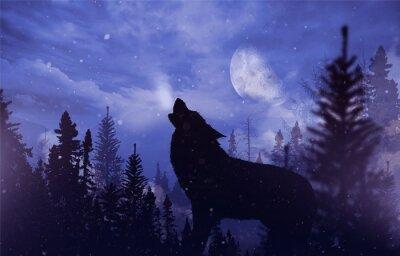 Fototapet Howling Wolf i Wilderness