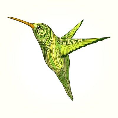 Fototapet Hummingbird med abstrakta ornament vektor