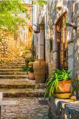 Fototapet Idyllisk utsikt över en medelhavs rustikt hus och stentrappa