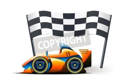 Fototapet illustration av formel ett och flagga på den på vit bakgrund