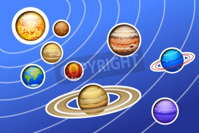 Fototapet illustration av ritat solsystemet med linjer på blå botten