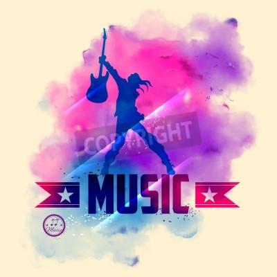 Fototapet illustration av rockstjärna med gitarren för musikaliska bakgrund