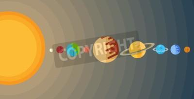 Fototapet illustration av solsystemet i en lägenhet stil.