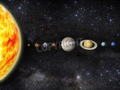 Fototapet Illustration av vårt solsystem - 3d Maps från http planetpixelemporium com