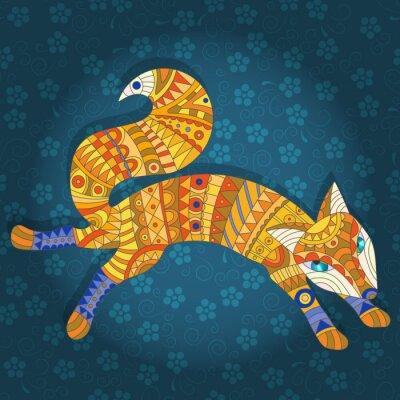 Fototapet Illustration i målat glass utformar abstrakt katt och fisk