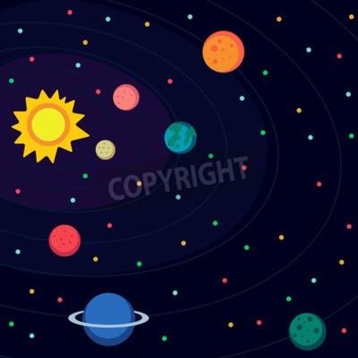 Fototapet Illustration i stil platt om yttre rymden.