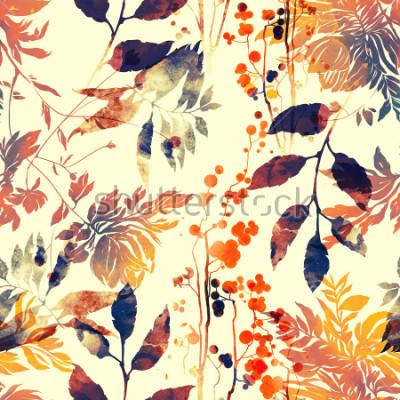 Fototapet imprints blommor och löv blanda återrepa sömlösa mönster. akvarell och digital handgjord bild. blandat tappning konstverk