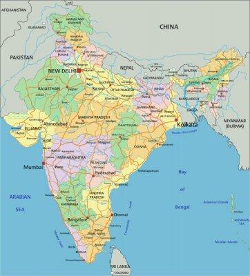 Fototapet Indien - Mycket detaljerade redigerbara politiska kartan med märkning.