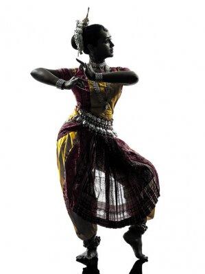 Fototapet indisk kvinna dansare silhuett