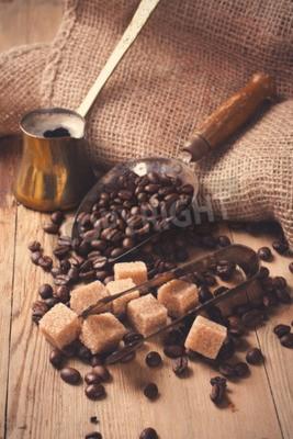 Fototapet Ingredienserna och redskap för att göra kaffe