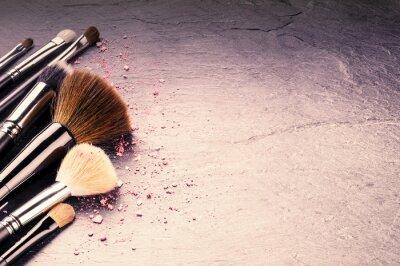 Fototapet Insamling av professionella makeup borstar