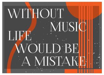 Fototapet Inspirera citationstecken Utan musik Livet skulle vara ett misstag. Typografi Poster Concept. Gitarrsilhouette background.Idea för musikalisk tema design. Vektor illustrationen.