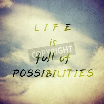 Fototapet Inspirerande Motiverande Life citationstecken på Vintage bakgrundsdesign.