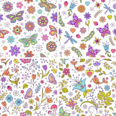 Fototapet Inställda blom- bakgrunder.