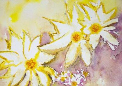 Fototapet Intryck av vilda blommor mot en gul och röd bakgrund. Den badda teknik nära kanterna ger en mjuk fokus effekt på grund av den förändrade ytjämnhet av papperet.