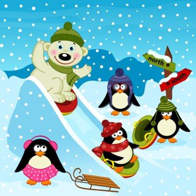 Fototapet isbjörn och pingvin på is slide - vektor illustration, eps