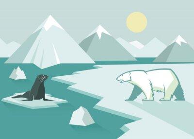 Fototapet Isbjörn och tätning - platt design