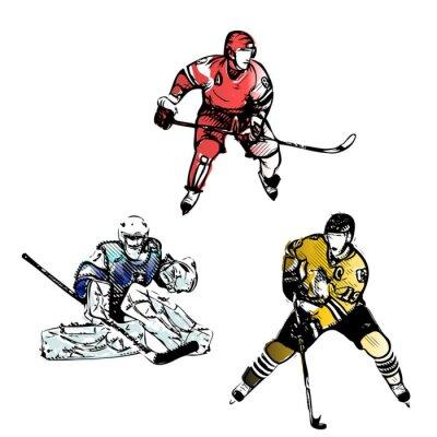Fototapet ishockeyspelare vektor illustrationer
