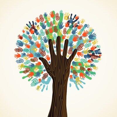 Fototapet Isolerade mångfald träd händer