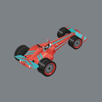 Fototapet Isometrisk sportbil. Isolerade vektor tecknad auto för racing. Röd sport bil med en racer inne.