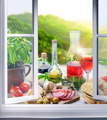 Fototapet italienische Küche - Vorspeisen (Antipasti) är Fenster