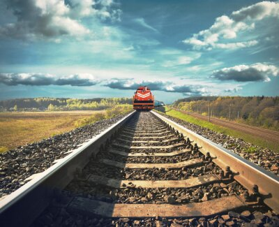 Fototapet Järnväg med ett godståg