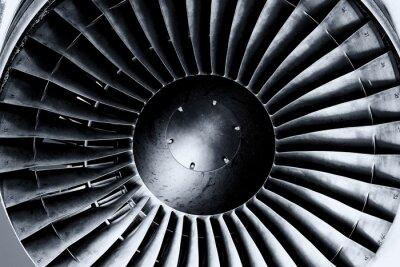 Fototapet Jetmotor närbild. Svartvitt. Toning.