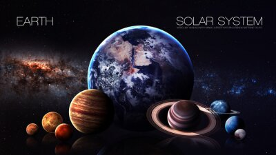 Fototapet Jord - 5K resolution Infographic presenterar en av solsystemet planeten. Denna bildelement som tillhandahålls av NASA
