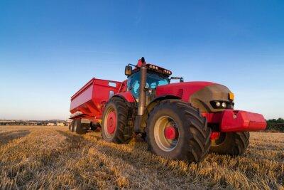 Fototapet Jordbruk traktor och släpvagn