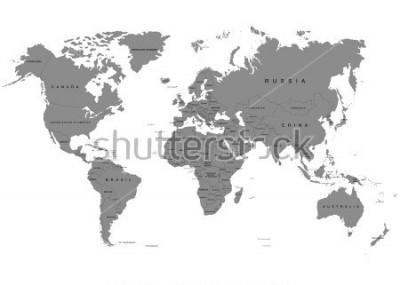 Fototapet Jorden, världskarta på vit bakgrund. Antarktis. Vektor illustration