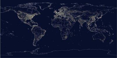 Fototapet Jordens stad ljus politiska kartan