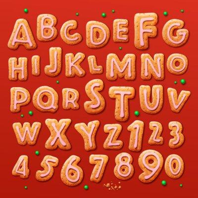 Fototapet Julpepparkaka cookies bokstäver och siffror